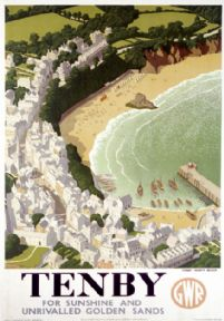 Tenby, Pembrokeshire. GWR Vintage Travel poster by Ronald Lampitt. 1946